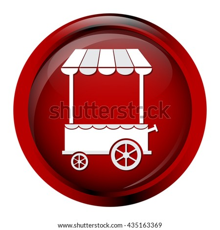 Market cart icon on red button vector illustration - stock vector
