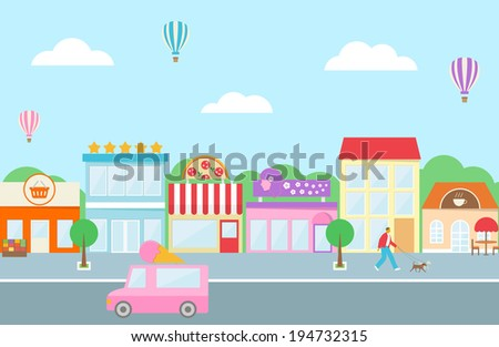 Market, hotel, buildings, cafe, shops, pizza, ice cream van. Flat style. - stock vector
