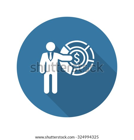 Market Share Icon. Business Concept. Flat Design. Isolated Illustration. - stock vector