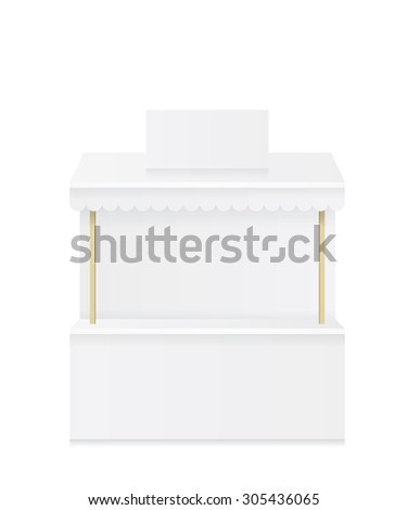 Market stall shop white illustration - stock vector