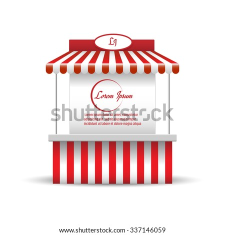 Market stand stall for promotion sale. Shopping cart. Business store, showcase and kiosk, marketplace mobile, vector illustration - stock vector