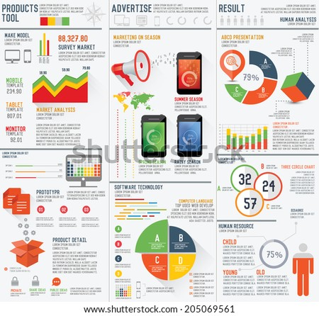 Marketing,Advertise and product presentation info graphic design on white background,clean vector - stock vector