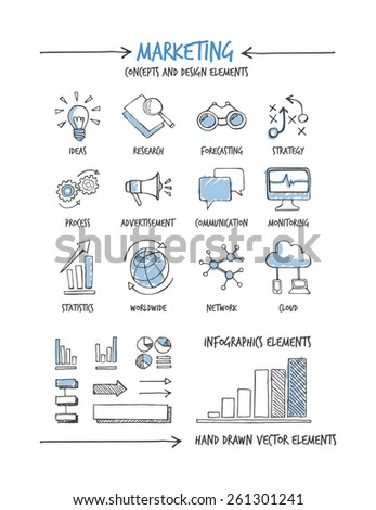 Marketing and business hand drawn concepts and icons - stock vector