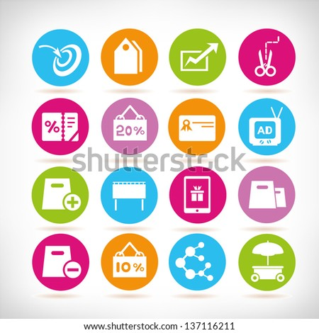 marketing and e commerce icon set - stock vector