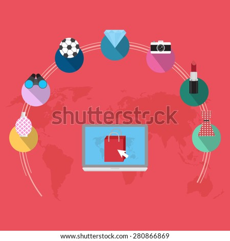 marketing and on line shopping - stock vector