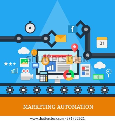 Marketing Automation Vector - stock vector