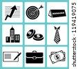 marketing, business icon set - stock vector