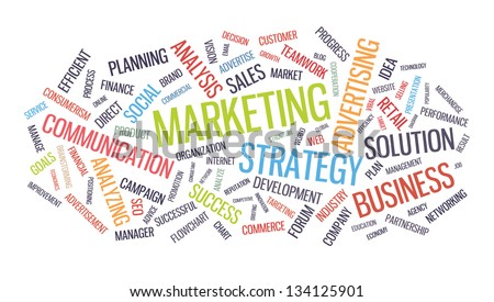 Marketing business strategy word cloud vector illustration. Isolated on white background - stock vector