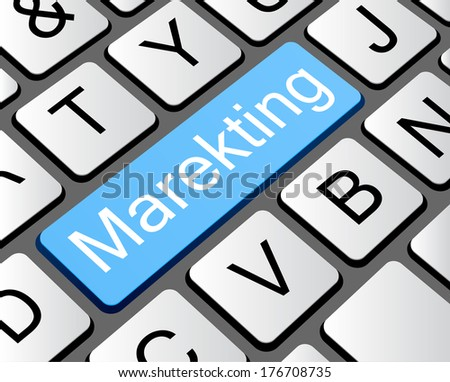 Marketing button concept, computer keyboard with word marketing