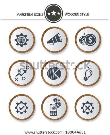 Marketing buttons,Wood style on white background,vector