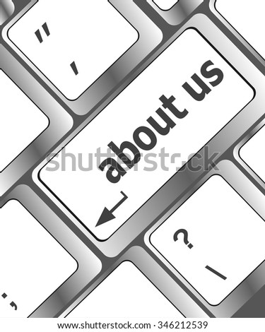 Marketing concept: computer keyboard with word About Us, selected focus on enter button background, 3d render vector illustration