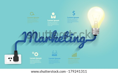 Marketing concept, Creative light bulb idea abstract infographic  layout, diagram, step up options, Vector illustration modern design template - stock vector