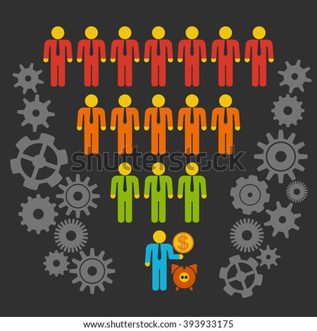 Marketing Funnel Sales Diagram with People and Cogs. Vector isolated on black background. Conversion Funnel Sale Chart. - stock vector
