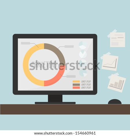 marketing graph data on computer desktop - stock vector
