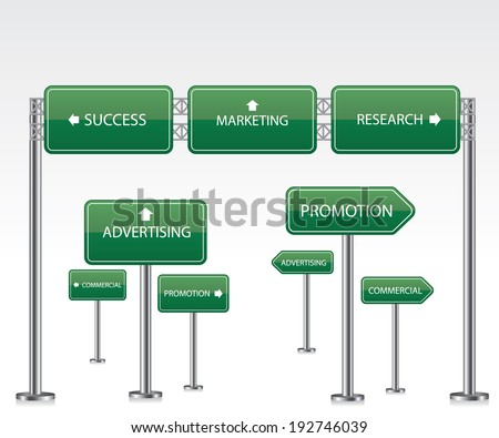 Marketing green road signs - stock vector