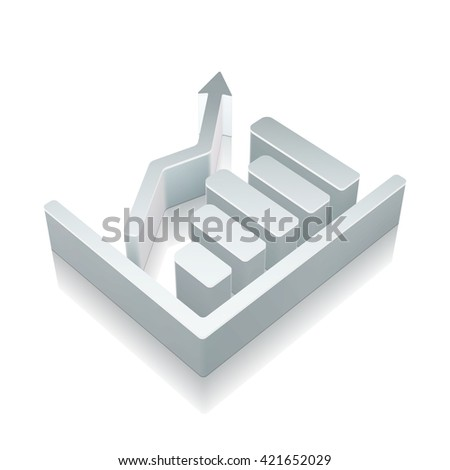 Marketing icon: 3d metallic Growth Graph with reflection on White background, EPS 10 vector illustration. - stock vector