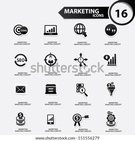 Marketing icons,Black version,vector - stock vector