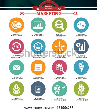 Marketing icons,Colorful version,vector - stock vector