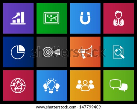 Marketing icons in Metro style - stock vector