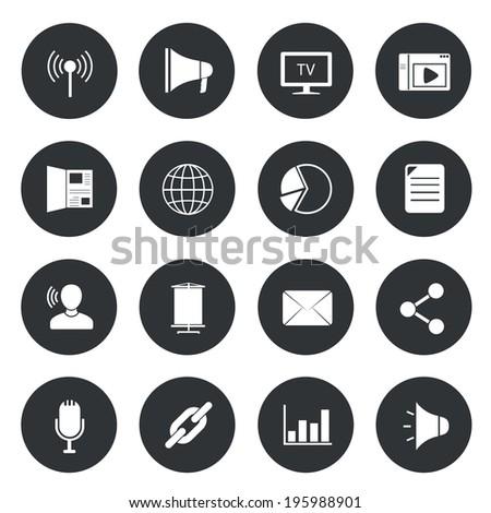 Marketing icons on black circle. - stock vector