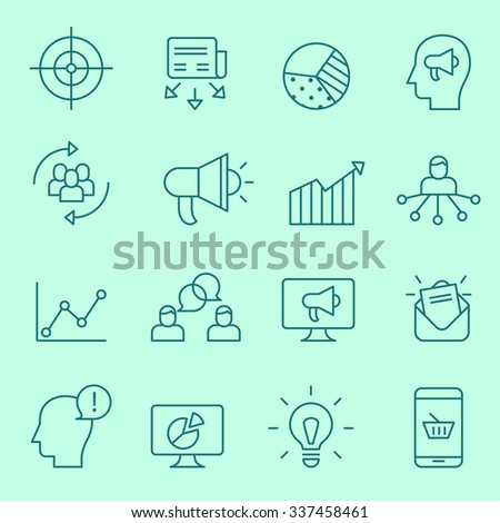 Marketing icons, thin line style - stock vector