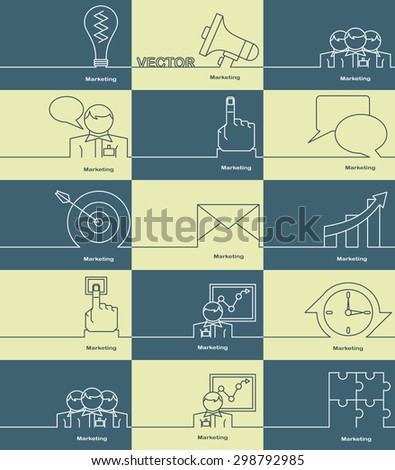 Marketing icons, thin line style, flat design and space for text. Flat design.Banners - stock vector