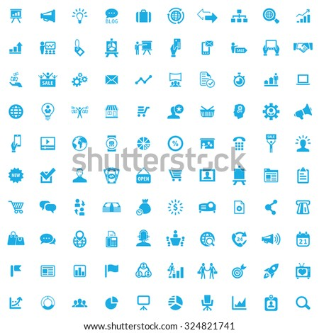 marketing 100 icons universal set for web and mobile