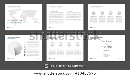 Marketing kit presentation vector template. Modern business presentation creative design. Power point layout with diagrams and charts. Marketing kit visualization template. Easy to edit and print. - stock vector