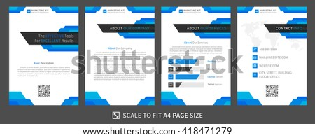 Marketing kit presentation vector template. Modern business presentation graphic design. Flat presentation template with diagrams and charts. Marketing kit template. Easy to use, edit and print. - stock vector