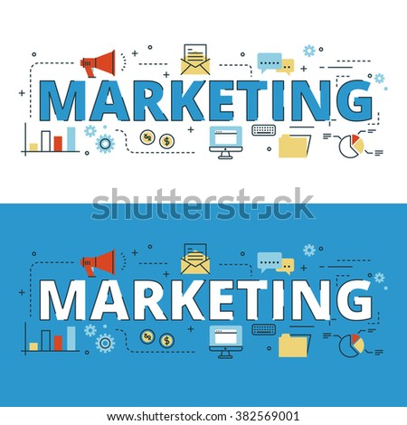 Marketing lettering flat line design with icons and elements for book cover, report header, presentation,illustration, infographics, printing, website banner and landing page. - stock vector
