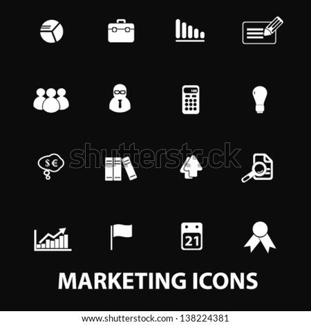 marketing, management, commerce, presentation white isolated icons, signs on black background for design template, vector set - stock vector