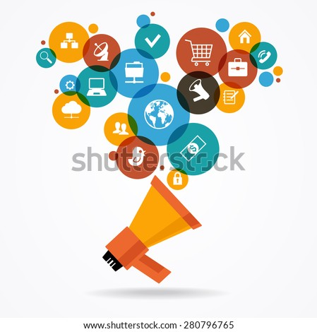 Marketing  promotion concept. Megaphone surrounded by  interface icons. File is saved in AI10 EPS version. This illustration contains a transparency  - stock vector