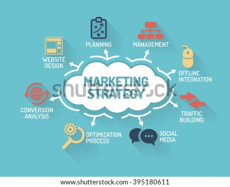 Marketing Strategy - Chart with keywords and icons - Flat Design