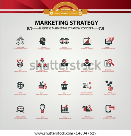 Marketing strategy icons,Red version,vector - stock vector