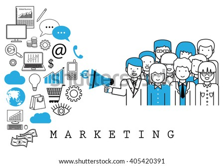 Marketing Team-On White Background-Vector Illustration,Graphic Design.Business Content For Web,Websites,Magazine Page,Print,Presentation Templates And Promotional Materials.Businesspeople Thin Line - stock vector