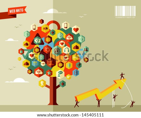 Marketing teamwork business rising arrow concept tree  . Vector file layered for easy manipulation and custom coloring. - stock vector
