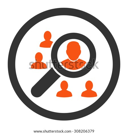 Marketing vector icon. This rounded flat symbol is drawn with orange and gray colors on a white background. - stock vector