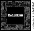 MARKETING. Word collage on black background. Illustration with different association terms. - stock photo