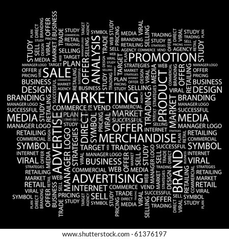 MARKETING. Word collage on black background. Illustration with different association terms. - stock vector
