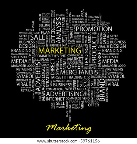 MARKETING. Word collage on black background. Vector illustration. - stock vector