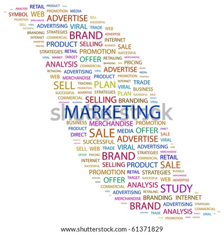 MARKETING. Word collage on white background. Vector illustration. - stock vector