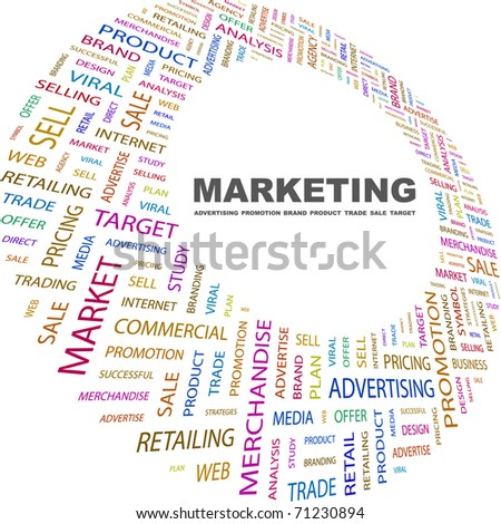 MARKETING. Word collage on white background. Vector illustration. Illustration with different association terms.