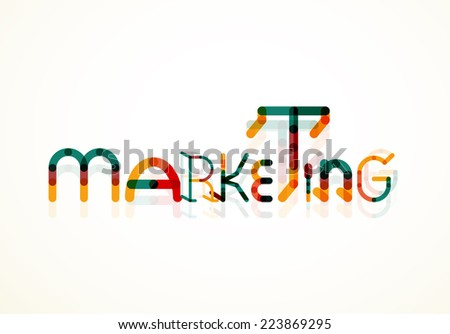 Marketing word font concept, minimal line design - stock vector