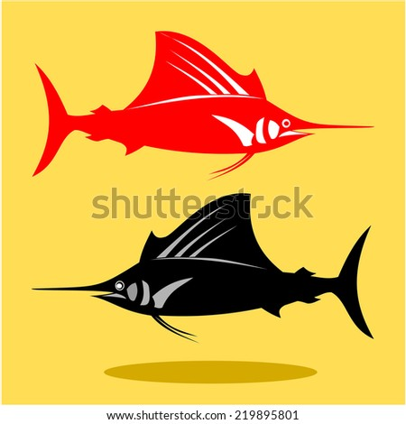 Marlin fish  - vector - stock vector