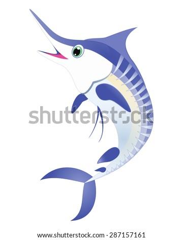 Marlin fish vector. Blue striped marlin sea animal cartoon character. Sea life Ocean animal Swordfish, billfish, sailfish isolated on white Great for illustration, t shirt stamp, animal, wildlife design - stock vector