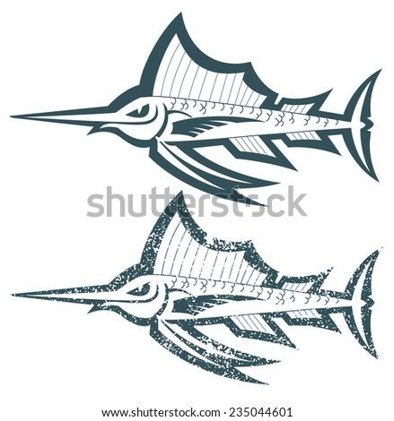 marlin outline cartoon vector illustration - stock vector