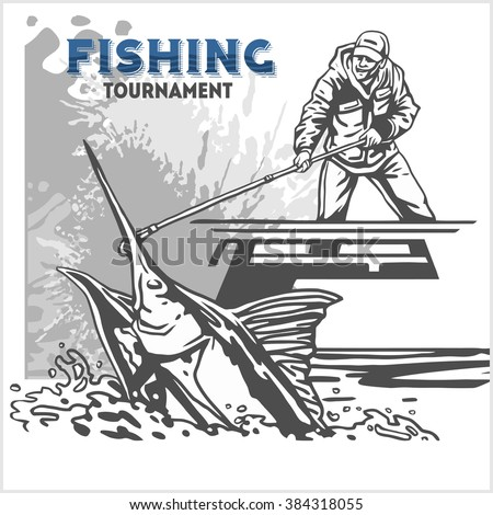 Marline fish in waves with fishing rod on retro grunge background for creation logo, stickers, badges, emblem for fishing clubs