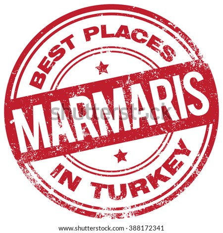 marmaris turkey stamp - stock vector