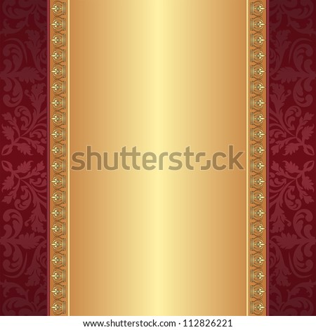 maroon and gold background with ornaments - stock vector