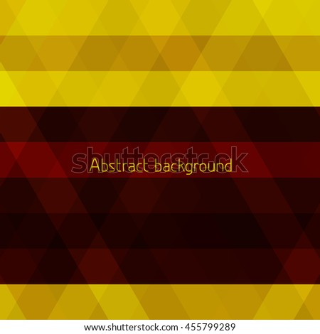 Maroon stripe on yellow. Abstract yellow geometric background with brown stripe. Vector graphic pattern - stock vector